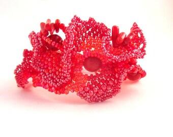Red bracelet, Red jewelry, Gift for women, Beaded jewelry, Boho bracelet, Red cuff, Freeform beadwork, Red beaded bracelet