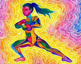 Side Lunge Print (Psychedelic Rainbow Fitness Yoga Exercise Mindful Movement Dynamic Energetic Watercolor Painting)