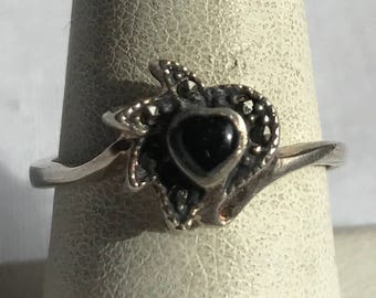 Sterling Silver Onyx And Marcasite Ring-Size 8