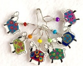 colorful coated sheep knitting stitch markers, whimsical knitting accessory, fun gift for knitters
