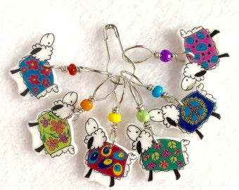 colorful coated sheep stitch markers, whimsical knitting accessory, fun gift for knitters