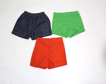 Little Girls Fits Size 2T Vintage Lot of 3 Pairs of Shorts Elastic Waist