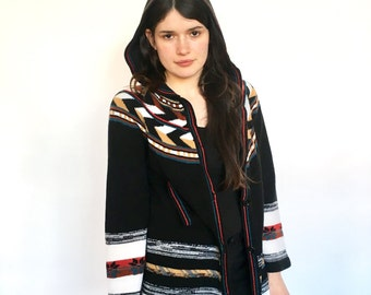 70s Tribal Aztec Hooded Sweater