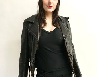 Vintage 70s Leather Jacket Thick Worn Leather Lace Up Sides
