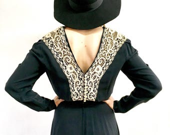 Vintage 70s Witchy Maxi Dress White Lace Black Crepe Button Up Back Dress