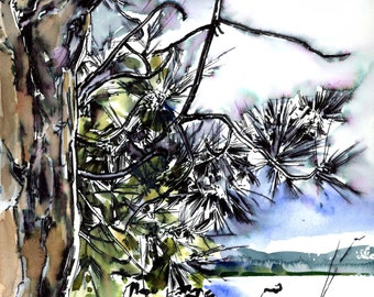 Snohomish River Study I - Original Pen & Ink Drawing - Archivally Matted and Mounted