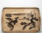 Japanese hand painted bamboo tray