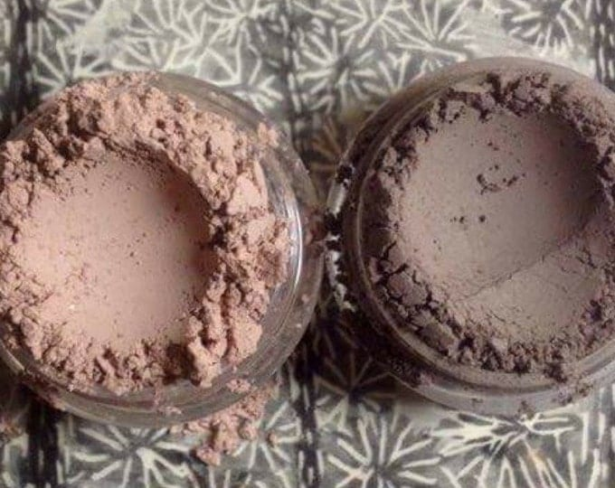 Featured listing image: DARK & LIGHT EGGPLANT Organic 2pc Mineral Matte Eye Shadow Dusty dark violet Vegan All Natural Pure Handmade