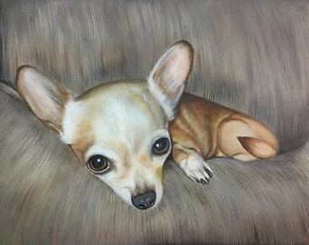 chihuahua gift custom pet portrait from photo hand painted dog painting on canvas art