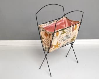 Mid-Century Folding Knitting Basket - Fabric Basket