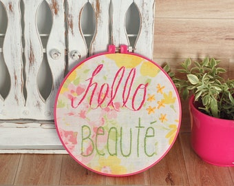 Romantic Wall art embroidery hoop hand embroidered hoop wall frame eco friendly little girl vintage 8 inches hoop pink green hello beauty