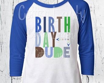 Birthday Dude tee shirt for the hipster kid Happy Birthday Boys tee shirt raglan baseball style birthday shirt