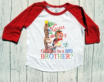 "Christmas ""Guess Whoo's going to be a BIG Brother"" raglan baseball style tshirt "" Christmas sibling tee shirt Personalized"