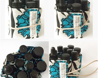 Blue Floral Cotton Essential Oil Holder - Holds 10 Bottles