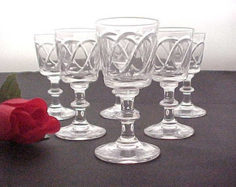 Set of Six Crystal Liqueur Glasses With Cutting, Mid Century Collectible Glass Barware, Elegant Stemware, Vintage Cut Glass Cordials