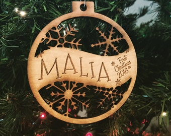 Malia - Customizable Baby's First Christmas Ornament - Engraved Birch Wood Ornament
