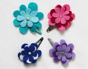 Baby Hair Clips - Set of 4 Baby Snap Clips - Baby Hair Bows  - Felt Hairclip for Babies and Toddlers -Ready to ship