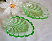 2 Green Depression Glass Candy Dish 1930s