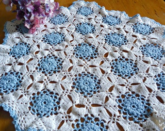 Vintage Doily Crocheted Large Doily Blue & White  Doilies  F7