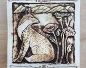 Handmade ceramic fox and bird tile