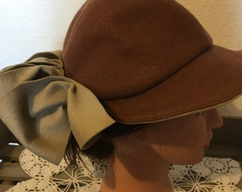 Vintage Brown Felt Hat with Visor and Bow. Very Sporty!
