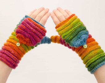 Knitted Convertible  Fingerless gloves in rainbow colors