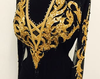 Black and Gold Dance Dress for Smooth Dance   Ballroom Dance Dresses Gold