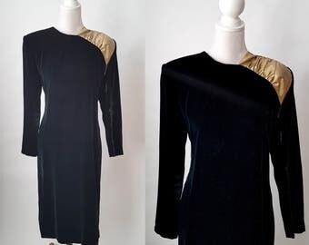 Vintage 1980s Black Velvet and Gold Party Dress
