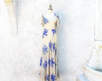 Vintage 30s Gown, 1930 Bias Cut Gown, Silk Chiffon Dress, Long Sheer Blue Flower Print Dress
