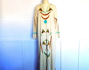 Vintage Hippie Dress, Embroidered 70s Maxi, Long Cotton Gown