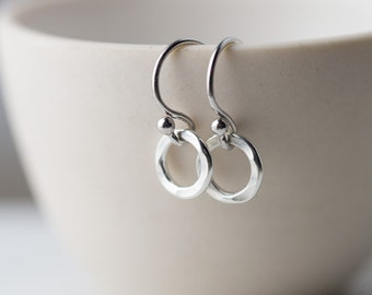 Tiny Circle Sterling Silver Earrings, Minimalist Silver Dangle Earrings Handmade Jewelry Burnish