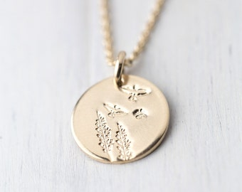 Hand Stamped Gold Filled Necklace | Summer Outdoors Woodland Tree Bird Necklace | Gold Fill Pendant Necklace | Nature Inspired Jewelry