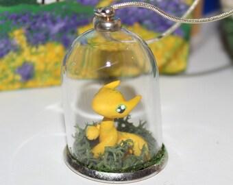 Yellow Dragon Terrarium Necklace