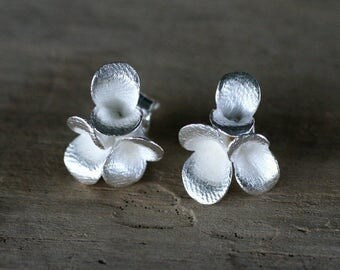Floral Pods Triplet Earstuds, cast silver earrings on posts