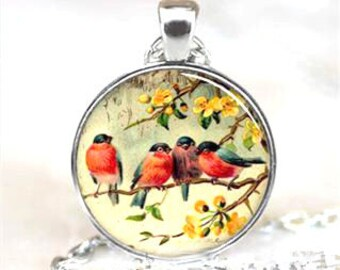 Spring Birds Glass Cabochon Pendant Necklace
