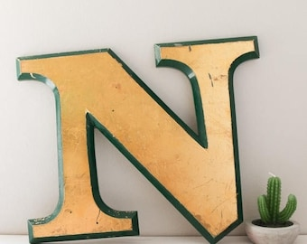 SALE Vintage Shop letter N, Gold Leaf, green trim