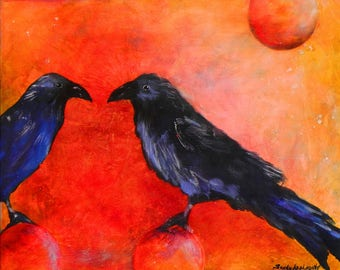 "Two ravens having a friendly discussion. Tete-a-tete. A decorative CERAMIC TILE wall  art  - 10"" x 8"".  Free U.S. shipping."