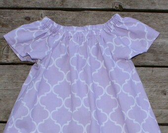 Girl's Toddlers Light Purple Quatrefoil Flutter Sleeve Peasant Dress