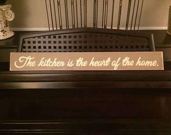The Kitchen is the HEART of the Home Sign Plaque Farmhouse Decor YOU Pick Color Hand Painted Wooden
