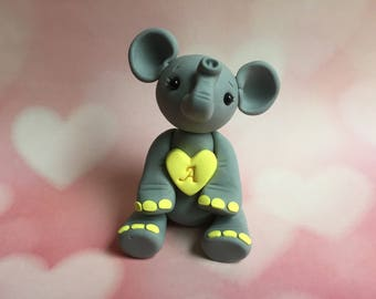 Made to Order - Personalized  - Gray Elephant with Heart - Polymer Clay Sculpture - Cake Topper Keepsake - Art by Sarah Price