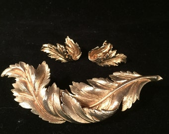 "This Vintage  Leaf Brooch and Earring Set is Designed By ""CORO"""