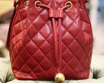 Vintage Chanel Red Quilted Lambskin Leather Bucket Bag