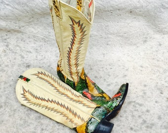 Vintage Larry Mahan womens snakeskin cowboy boots -  Multi color snakeskin leather western cowgirl rodeo boots size 7