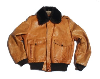 42 | Cooper Aviator Bomber Leather Jacket in Camel Color