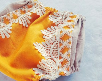 Linen Boho Baby Bloomers | lace bloomers | Gypsy Bohemian Bloomers l Diaper Cover l Mustard & Cream