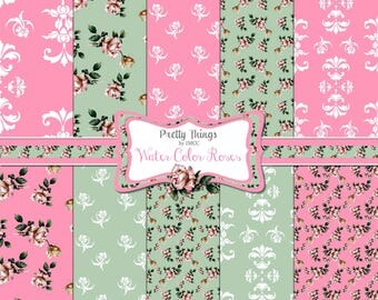 """Digital Download Shabby Chic Pink Roses Green Damask 12"""" x 12"""" Paper Pack Backgrounds Patterns Scrapbooking Clipart SEAMLESS PAPERS ECS"""