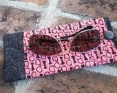 Quilted Deep Coral and Black Bowties Sunglasses Case/ Sleeve