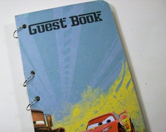 Guest Book, Cars Birthday, Party Boy Birthday, Cars Guest Book, Mater and McQueen Blue Guest Book