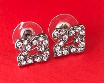 Number 23 Rhinestone Post Pierced Earrings