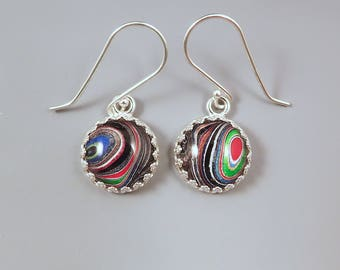 Fordite Earrings- Gorgeous Shimmering Multi Colored Swirls- Michigan Made- Sterling Silver Drop Earrings